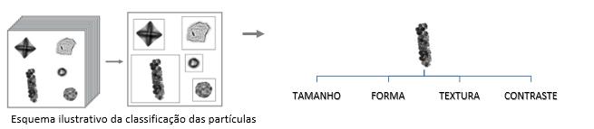 Esquema ilustrativo da classificação das partículas